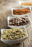 Green, roasted, ground and instant coffee Stock Images