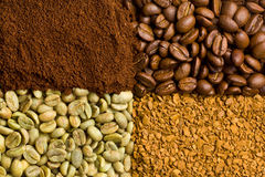 Green, roasted, ground and instant coffee Royalty Free Stock Image