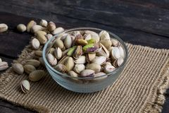 Pistachios nuts. Green Roasted salted fresh pistachios Stock Images