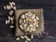 Pistachios nuts. Green Roasted salted fresh pistachios Stock Photos