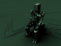 Green robot. The green robot sits on a cube vector illustration