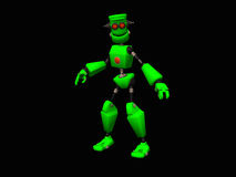 Green robot. 3d illustration of a cute little green robot Stock Photography
