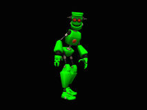 Green robot. 3d illustration of a cute little green robot Royalty Free Stock Image