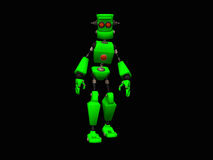 Green robot. 3d illustration of a cute little green robot Royalty Free Stock Images