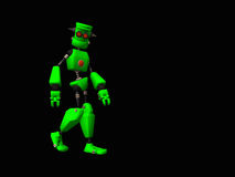 Green robot. 3d illustration of a cute little green robot Royalty Free Stock Photography