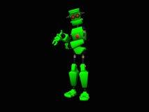 Green robot. 3d illustration of a cute little green robot Stock Photo