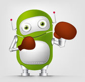 Green robot character. Cartoon Character Cute Robot Isolated on Grey Gradient Background. Boxing Stock Image