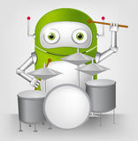 Green robot character. Cartoon Character Cute Robot Isolated on Grey Gradient Background. Drummer Royalty Free Stock Image