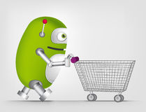 Green robot character. Cartoon Character Cute Robot Isolated on Grey Gradient Background. Shopping Stock Photography