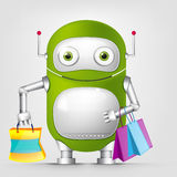 Green robot character. Cartoon Character Cute Robot Isolated on Grey Gradient Background. Shopping Royalty Free Stock Photos
