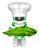 Green Robot Character holding a Big leaf. Create 3D Humanoid Rob Royalty Free Stock Photo