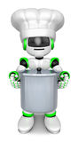 Green robot Character is holding a saucepan with both hands. Cre Stock Photography
