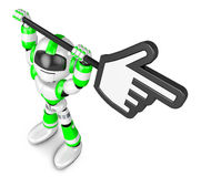 Green robot character holding up a big cursor. Create 3D Humanoi Stock Photo