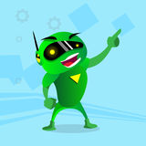 Green Robot In Digital Glasses Point Finger Up Hand Stock Images