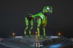 Green robot dog stands on a charging dock. 3D illustration vector illustration