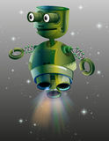 Green robot flying in the space Stock Images