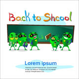 Green Robot Group Over Class Board Back To School Banner Stock Photography