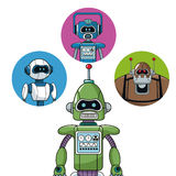 Green robot machine engineering with icons robots vector illustration