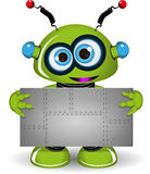 Green Robot with a Metal Background Stock Photography