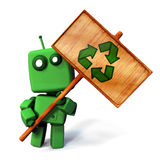 Green robot with recycle sign. Funny 3D Green robot holdin a wooden recycle sign; isolated on white background royalty free illustration