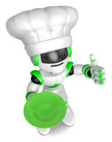 Green robot the right hand best gestures. holding a plate Left h Stock Image
