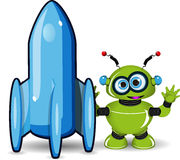Green Robot and Rocket Stock Photo