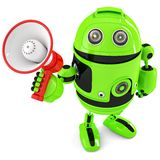 Green robot shouting into bullhorn. Isolated. Contains clipping path Stock Image