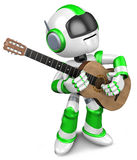 Green robot to play the acoustic guitar Royalty Free Stock Image