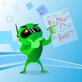 Green Robot Wear Digital Glasses Holding Hand Chin Pondering Stock Image