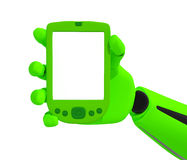 Green robotic hand hold a blank mobile phone Stock Photography