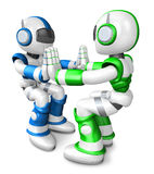 Green robots and Blue robots Pushing each other. Create 3D Human Stock Photography