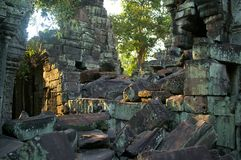 Green rock and roll. Mossy green rubble of ankgor wat cambodia Stock Photography