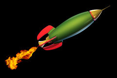 Green rocket. Isolated on black 3d green rocket Royalty Free Stock Image