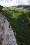 Green and rocky landscape from Mirador de Gresolet. Pyrenees, Spain Royalty Free Stock Images
