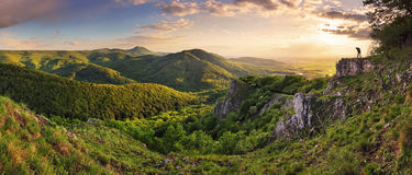 Green Rocky moutain at sunset - Slovakia stock image