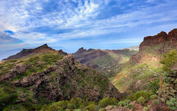 Green rocky valley of Masca town on Tenerife island, Spain Royalty Free Stock Images