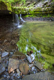 Green Rocky Waterfall. Green rocky small waterfall in the woods on Wolf Creek stock images