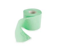 Green roll of toilet paper Royalty Free Stock Photo