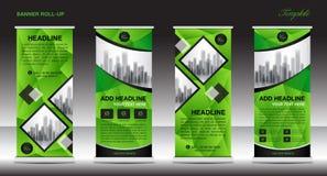 Green Roll up banner template, banner design, advertisement, bus Stock Image