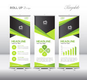 Green Roll Up Banner template and info graphics, stand design,ve. Ctor illustration Royalty Free Stock Photos