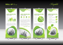 Green Roll Up Banner template and infographics, stand design Stock Photography