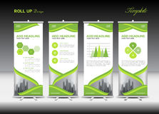 Green Roll Up Banner template and infographics, stand design Stock Photo
