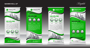 Green Roll Up Banner template vector illustration Royalty Free Stock Photography