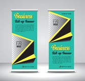Green Roll up banner template vector, banner, stand, exhibition design, advertisement, pull up, x-banner and flag-banner layout vector illustration