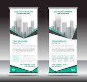 Green roll up business brochure flyer, banner design Royalty Free Stock Images