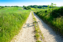 Green rolling hills in Roztocze,Poland Stock Photo