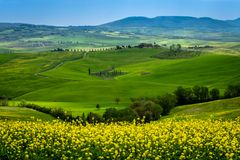 Green Rolling hills Spring In Tuscany Italy stock images