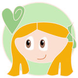 Green romantic girl. A red haired girl with a green ribbon looking at a green heart on a green background. Illustration Stock Photography