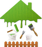 Green roof and painting tools, vector illustration. Wooden green roof, fence and painting tools. Vector Illustration Stock Image