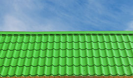 Green roof tiles. Stock Photo